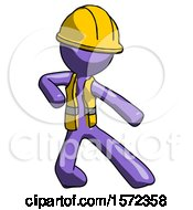 Purple Construction Worker Contractor Man Karate Defense Pose Right