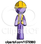 Purple Construction Worker Contractor Man Walking Front View