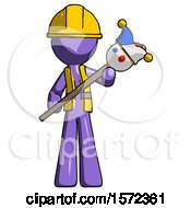 Purple Construction Worker Contractor Man Holding Jester Diagonally