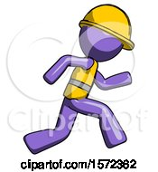 Purple Construction Worker Contractor Man Running Fast Right