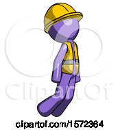Purple Construction Worker Contractor Man Floating Through Air Right