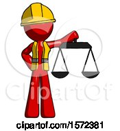 Red Construction Worker Contractor Man Holding Scales Of Justice