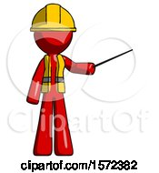 Red Construction Worker Contractor Man Teacher Or Conductor With Stick Or Baton Directing