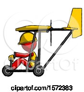 Red Construction Worker Contractor Man In Ultralight Aircraft Side View