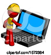 Red Construction Worker Contractor Man Using Large Laptop Computer