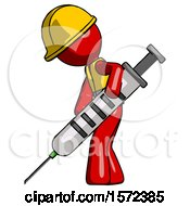 Red Construction Worker Contractor Man Using Syringe Giving Injection