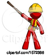 Red Construction Worker Contractor Man Bo Staff Pointing Up Pose