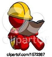 Red Construction Worker Contractor Man Reading Book While Sitting Down