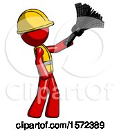 Red Construction Worker Contractor Man Dusting With Feather Duster Upwards