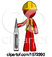Red Construction Worker Contractor Man Standing With Large Thermometer