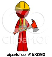 Red Construction Worker Contractor Man Holding Red Fire Fighters Ax