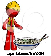 Red Construction Worker Contractor Man And Noodle Bowl Giant Soup Restaraunt Concept