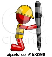 Red Construction Worker Contractor Man Posing With Giant Pen In Powerful Yet Awkward Manner