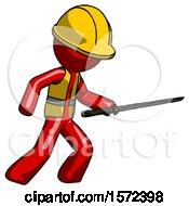 Red Construction Worker Contractor Man Stabbing With Ninja Sword Katana