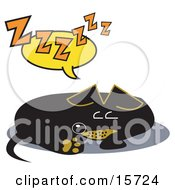 Tired Little Dachshund Dog Curled Up And Napping Clipart Illustration