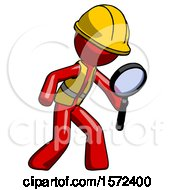 Red Construction Worker Contractor Man Inspecting With Large Magnifying Glass Right