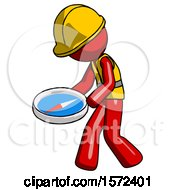 Red Construction Worker Contractor Man Walking With Large Compass