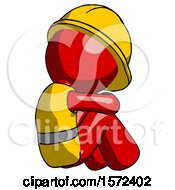 Red Construction Worker Contractor Man Sitting With Head Down Back View Facing Right