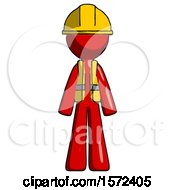 Red Construction Worker Contractor Man Standing Facing Forward