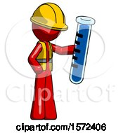 Red Construction Worker Contractor Man Holding Large Test Tube