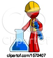 Red Construction Worker Contractor Man Holding Test Tube Beside Beaker Or Flask