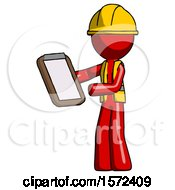 Red Construction Worker Contractor Man Reviewing Stuff On Clipboard