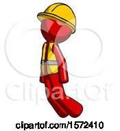 Red Construction Worker Contractor Man Floating Through Air Left