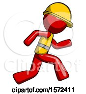 Red Construction Worker Contractor Man Running Fast Right