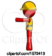 Red Construction Worker Contractor Man Pointing Left