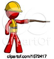 Red Construction Worker Contractor Man Pointing With Hiking Stick