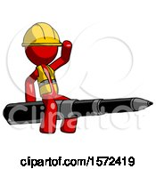 Red Construction Worker Contractor Man Riding A Pen Like A Giant Rocket