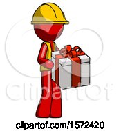 Red Construction Worker Contractor Man Giving A Present
