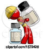 Red Construction Worker Contractor Man Holding Large White Medicine Bottle With Bottle In Background