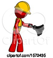 Red Construction Worker Contractor Man Dusting With Feather Duster Downwards