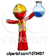 Red Construction Worker Contractor Man Holding Large Round Flask Or Beaker