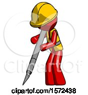 Red Construction Worker Contractor Man Cutting With Large Scalpel