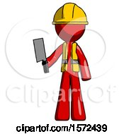 Red Construction Worker Contractor Man Holding Meat Cleaver