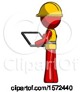 Red Construction Worker Contractor Man Looking At Tablet Device Computer With Back To Viewer