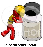 Red Construction Worker Contractor Man Pushing Large Medicine Bottle