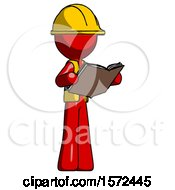 Poster, Art Print Of Red Construction Worker Contractor Man Reading Book While Standing Up Facing Away