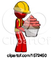 Red Construction Worker Contractor Man Holding Large Cupcake Ready To Eat Or Serve