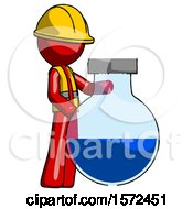 Red Construction Worker Contractor Man Standing Beside Large Round Flask Or Beaker