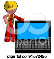 Red Construction Worker Contractor Man Beside Large Laptop Computer Leaning Against It