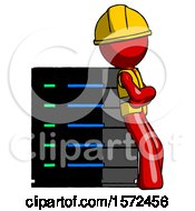 Red Construction Worker Contractor Man Resting Against Server Rack Viewed At Angle