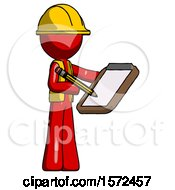 Red Construction Worker Contractor Man Using Clipboard And Pencil