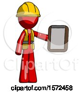 Red Construction Worker Contractor Man Showing Clipboard To Viewer