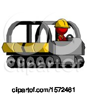 Red Construction Worker Contractor Man Driving Amphibious Tracked Vehicle Side Angle View