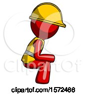 Red Construction Worker Contractor Man Squatting Facing Right