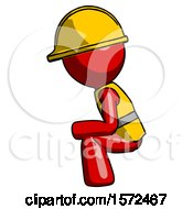 Red Construction Worker Contractor Man Squatting Facing Left