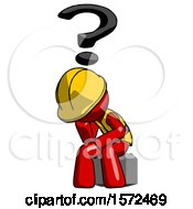Red Construction Worker Contractor Man Thinker Question Mark Concept